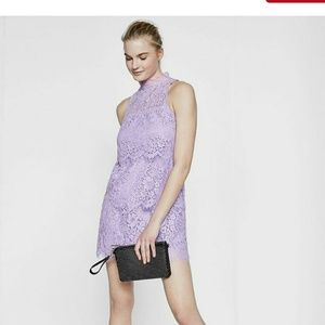Express Purple Lace Tiered Mini Dress